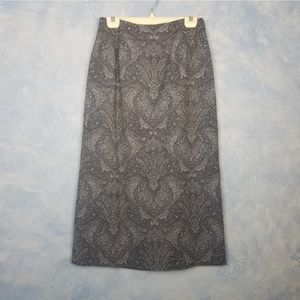 Pendleton Blue Wool Scroll Pencil Skirt NWOT